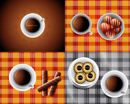 set of backgrounds including Cup of tea and cookies and chocolate bars Vector