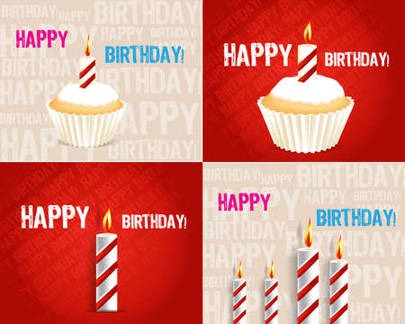 set of Birthday Greeting cards Stock Vector - 11465941