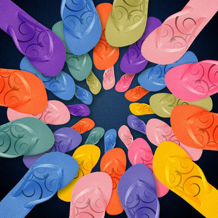 slipper: Colorful Flip Flops on circle shape, summertime with colors.