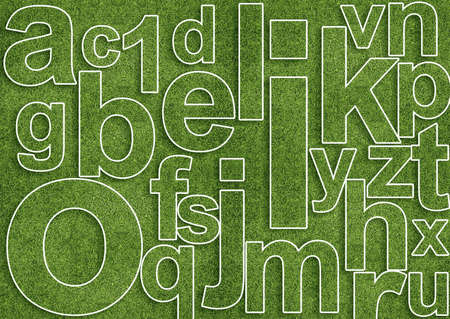 Abstract alphabet image with letter mix from grass photo