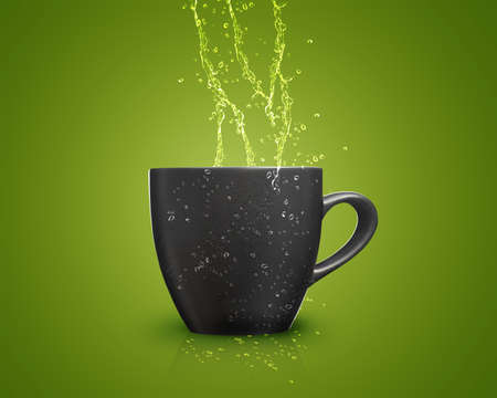 black mug with water splash on green background. photo
