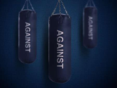 chun: boxing punch bag on dark blue background