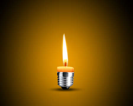 Creative Thinking With Brainstorming, wax candle into lighting bulb. Stock Photo