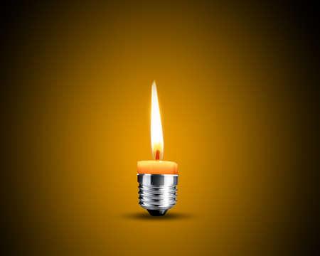 pensamiento creativo: Pensamiento creativo con la vela de lluvia de ideas, la cera en la bombilla de iluminaci�n.