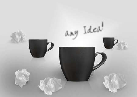 imaginary dialogue: Creative Thinking With Brainstorming, three mugs and set of Crumpled paper around. Stock Photo