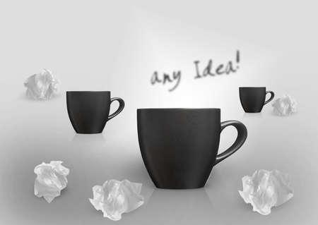 imaginary dialogue: Pensamiento Creativo Con lluvia de ideas, tres tazas y el conjunto de papel arrugado alrededor.