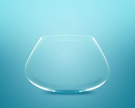 Empty fishbowl without water in front of blue background. Stock Photo - 11674032