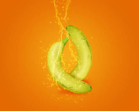 Fresh Banana with water splashes on orange background. photo