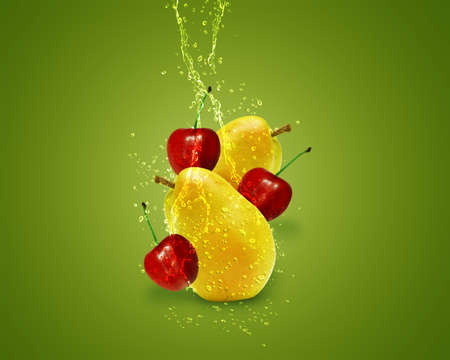multivitamin: Fresh Pear, cherry with water splashes on green background.