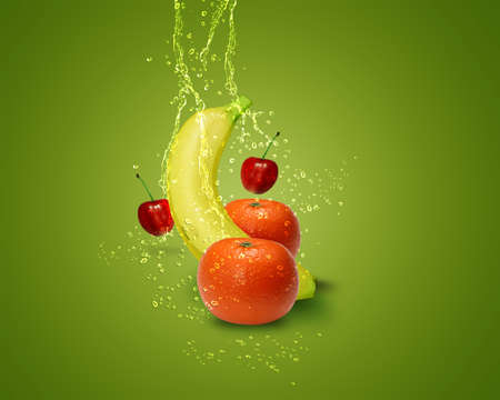 multivitamin: Fresh banana, mandarins, cherry,  with water splashes on green background.