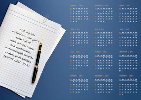 New year 2012 Calendar with conceptual image of new year greeting. photo