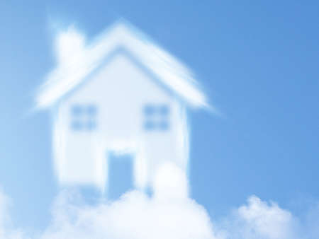 small house from clouds, Dream of homeownership photo