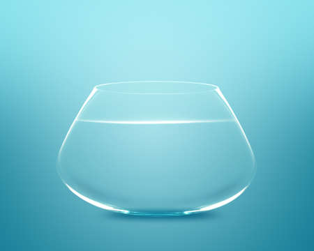 tank fish: Empty fishbowl with water in front of blue background. Stock Photo