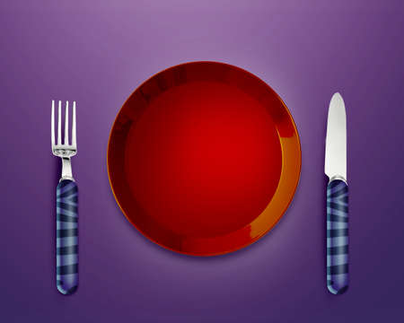 Empty red Plate with knife and fork. photo