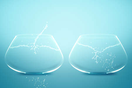 no movement: Empty Two fishbowls with water in front of blue background.