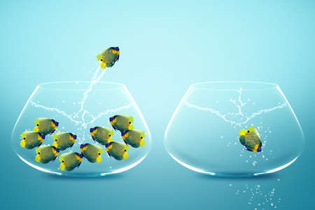 Anglefish jumping to Big bowl, Good Concept for new life, Big Opprtunity, Ambition and challenge concept. Stock Photo - 11674049
