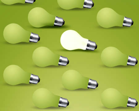 one glowing Light bulb from many turn off Light bulbs, idea on green background photo