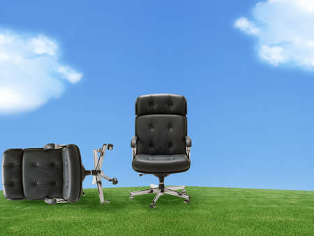 vying: Two armchair outdoor on green land, good concept for free position, career, out of box and peace of mind.