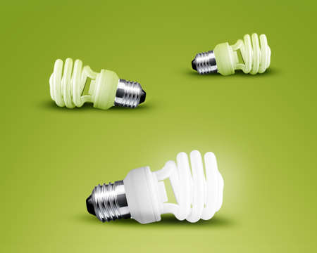 one glowing Light bulb from three Light bulb idea on green background photo