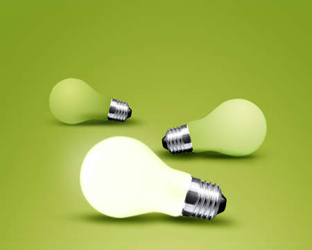 vision concept: one glowing Light bulb from three Light bulb idea on green background