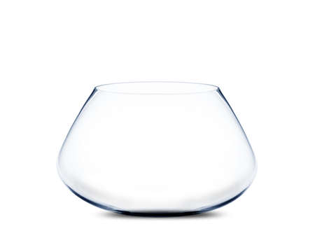 isolated Empty fishbowl without water in front of white background. photo