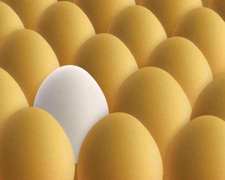 likeness: unique white egg between golden eggs