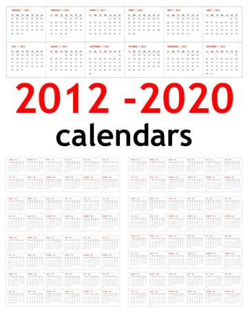 New year 2012, 2013,  2014,  2015,  2016,  2017,  2018,  2019,  2020 Calendars  Vector