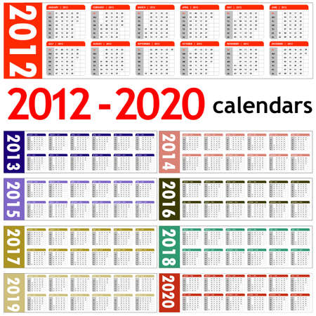 New year 2012, 2013,  2014,  2015,  2016,  2017,  2018,  2019,  2020 Calendars  Vector