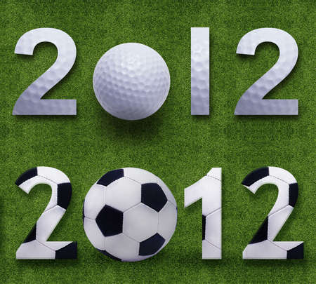 Happy new year 2012, Soccerand Golf sport conceptual image Stock Photo - 11798617