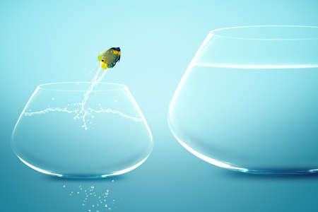 Anglefish jumping into bigger fishbowl. Stock Photo - 11798629