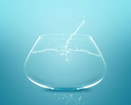 Empty fishbowl with water in front of blue background. Stock Photo - 11798701