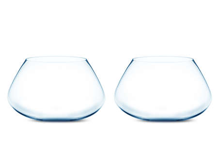 tank fish: isolated Empty Two fishbowls without water in front of white background.