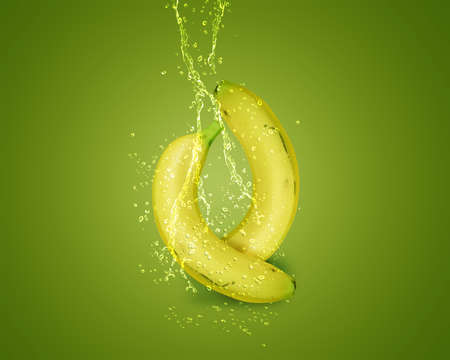 combination: Fresh Banana with water splashes on green background.