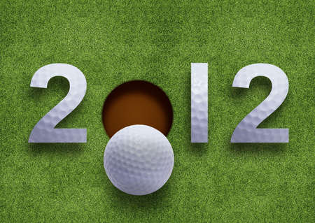 Happy new year 2012, Golf sport conceptual image photo