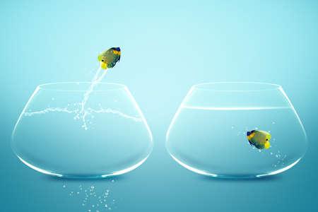 용감: 새로운 사랑, 새로운 Opprtunity과 도전의 개념에 대한 다른 그릇, 좋은 개념에 에인 젤 피시의 jumbing.