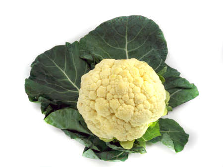 leaf vein: Whole Cauliflower with leaves isolated on white