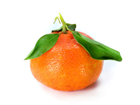 Fresh tangerine with leaves isolated on a white background Stock Photo - 12463440