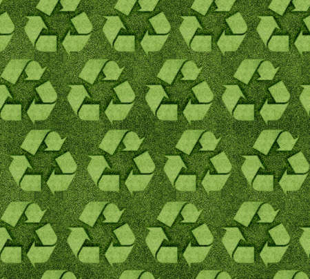 Seamless Grassy recycle sign background.