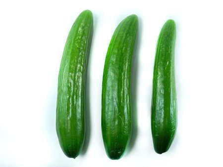 Fresh Cucumber isolated over white background.  photo