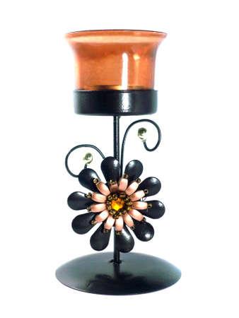 Modern iron style candlestick holder isolated on white . photo