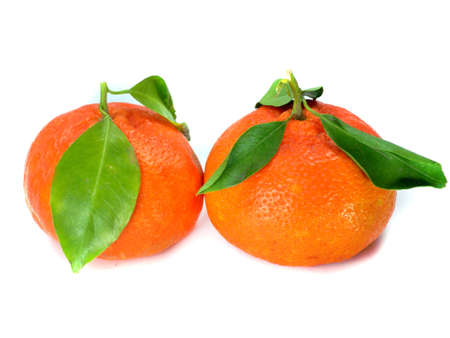 Fresh tangerine with leaves isolated on a white background Stock Photo - 12834936