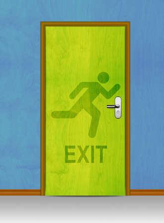 Green Exit wooden door in blue wall. Stock Photo - 12835161