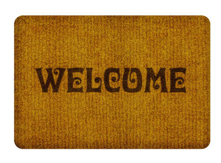 important sign: Brown welcome carpet, welcome doormat carpet isolated on white.