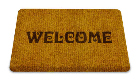 first floor: Brown welcome carpet, welcome doormat carpet isolated on white.