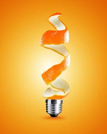 creative thinking: light bulb made from orange peel, light bulb conceptual Image.