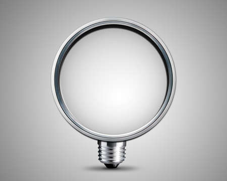 light bulb made from magnifying  Glass, light bulb conceptual Image. photo