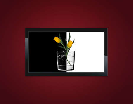 Black LCD tv screen hanging on a wall  Stock Photo - 13171914