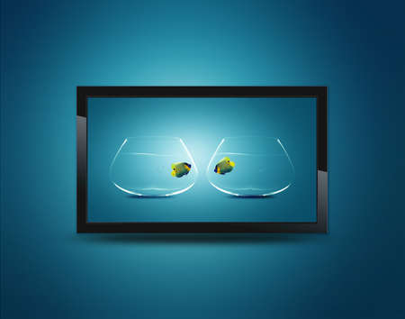 Black LCD tv screen hanging on a wall  photo