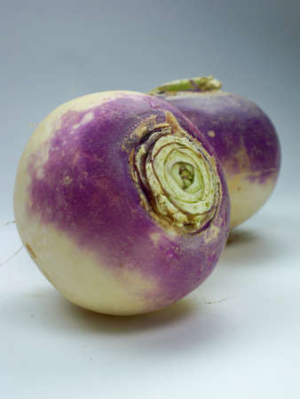 swede: purple headed turnips on white background  Stock Photo