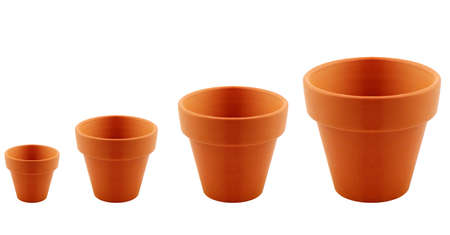 implements: set of clay garden pot isolated on white background.
